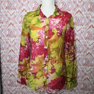 J. Crew  Small Button-Front Floral Blouse Green